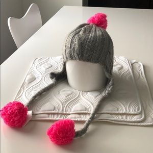 Old navy gray knit hat with neon pink Pom Pom